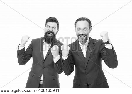 Celebrating Success. Bearded Men Make Winner Gesture. Happy Businessmen Celebrate Success. Being Exc