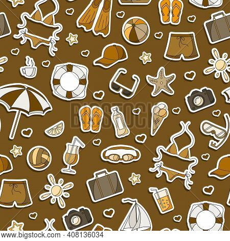 Seamless Pattern On The Theme Of Summer Holidays In Hot Countries, Simple  Icons Patches On A Brown