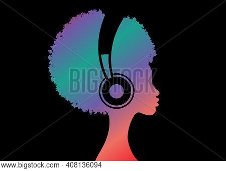 Colorful Afro Curly Girl Listens To Music On Headphones. Music Therapy. Profile Of A Young African A
