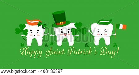 St Patrick Day Tooth In Leprechaun Hat With Clover And Irish Flag. Dental Crown Teeth Irish Characte