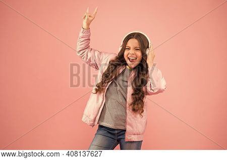 Her Favorite Song. Audio Sound. Singing Along To Tune. Happy Child Enjoy Listening To Sound Track. L
