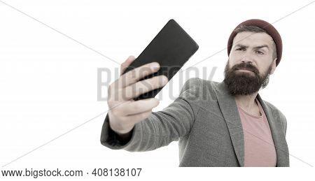 Lifestyle Blogger. Handsome Hipster Taking Selfie Photo For Personal Blog. Share Life Online Blog. D