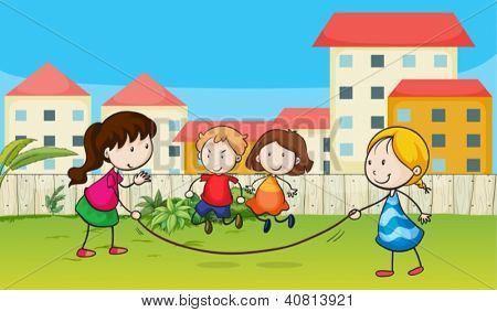 Illustration of kids playing rope in a beautiful garden