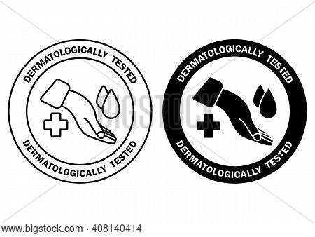 Dermatologically Tested, Label With Water Drop And Cross. Clinically Proven, Icons For Allergy Free