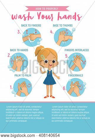 How To Wash Your Hands Six Step Poster Infographic Illustration For Children. Poster With The Cute B
