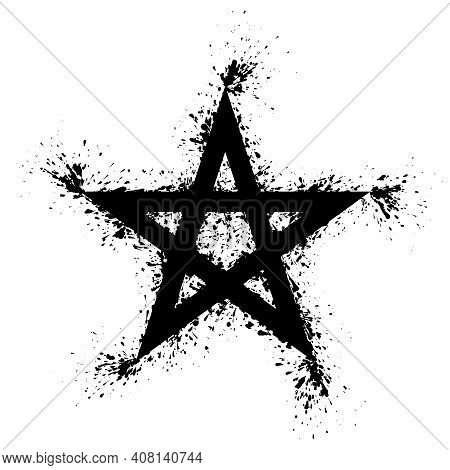 Pentagram Splattered With Black Paint On White Background. Five Pointed Star, Splashed With Black Pa