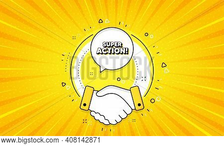 Super Action Symbol. Yellow Vector Button With Handshake. Special Offer Price Sign. Advertising Disc