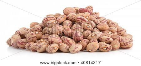 Heap of borlotti beans isolated on white background
