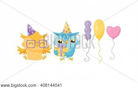 Funny Owl With Toy Balloon And Wrapped Gift Box Vector Set