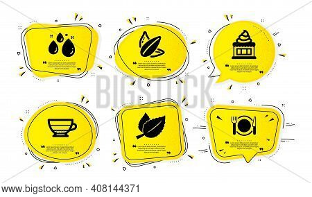 Sunflower Seed, Mint Leaves And Water Drop Icons Simple Set. Yellow Speech Bubbles With Dotwork Effe