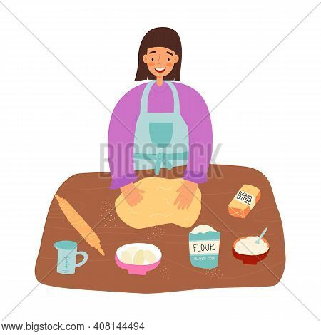 Home Pastime, Healthy Cooking Concept. Woman Make A Healthy Pastry From Gluten Free Flour, Coconut S