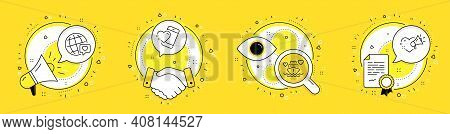 Honeymoon Cruise, Heart And World Brand Line Icons Set. Megaphone, Licence And Deal Vector Icons. Lo