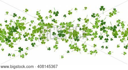 St.patrick S Day Horizontal Seamless Background In Green Colors On White Background. Ideal For Greet