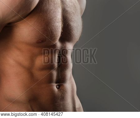 Muscular Body, Naked Torso. Guy With Beautiful Torso. Muscular Man, Male Naked, Healthy Muscular Guy