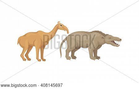 Extinct Prehistoric Animals With Terrestrial Mammal Beasts Vector Set