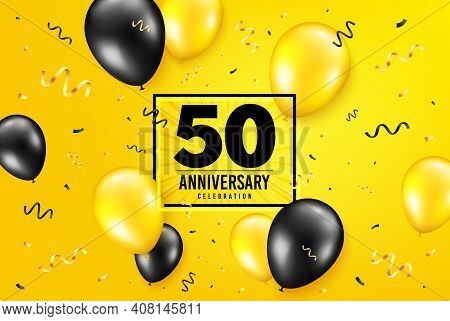 50 Years Anniversary. Anniversary Birthday Balloon Confetti Background. Fifty Years Celebrating Icon