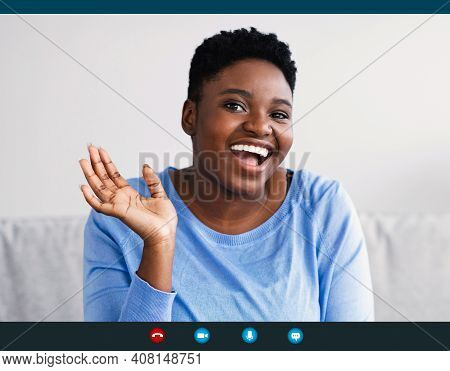 Distant Communication. Pc Screen View, Headshot Portrait Of Smiling Young Black Woman Making Video C