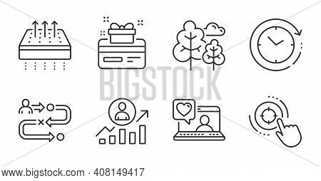Friends Chat, Time Change And Breathable Mattress Line Icons Set. Journey Path, Loyalty Card And Tre