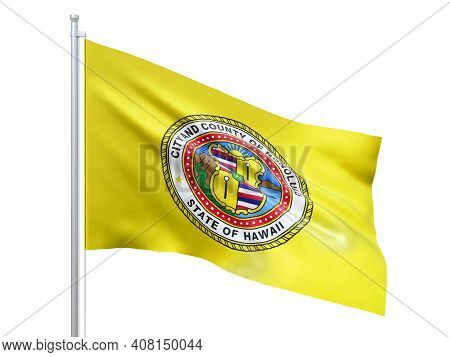 Honolulu (city In Hawaii State) Flag Waving On White Background, Close Up, Isolated. 3d Render