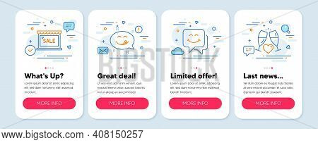 Set Of Holidays Icons, Such As Smile Face, Sale, Yummy Smile Symbols. Mobile Screen App Banners. Wed