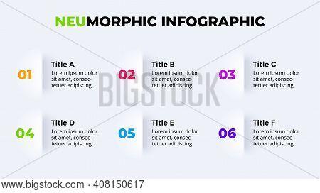 Neumorphic Vector Infographic. Presentation Slide Template. Neumorphism Ui Design. 6 Options.