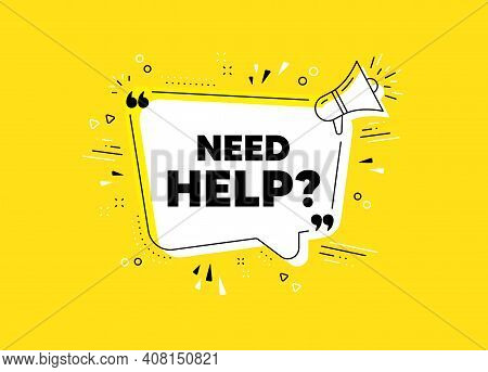 Need Help Symbol. Megaphone Yellow Vector Banner. Support Service Sign. Faq Information. Thought Spe