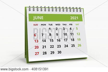 Standing Desk Calendar June 2021. Business Monthly Calendar With Metal Spiral Bound, The Week Starts