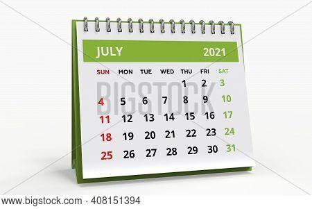 Standing Desk Calendar July 2021. Business Monthly Calendar With Metal Spiral Bound, The Week Starts
