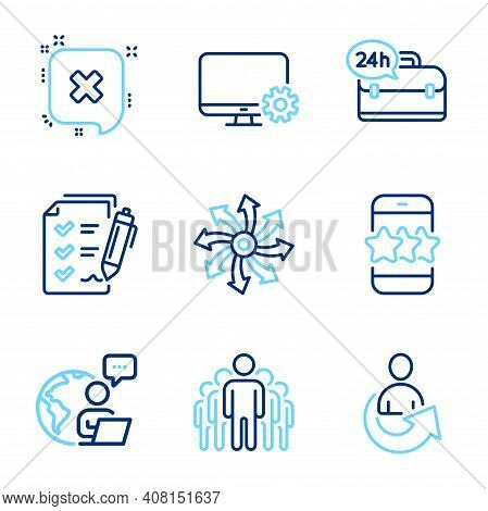 Technology Icons Set. Included Icon As Survey Checklist, Reject, 24h Service Signs. Star, Group, Sha