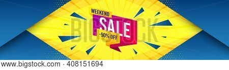 Weekend Sale 50 Percent Off Banner. Abstract Background With Offer Message. Discount Sticker Shape.