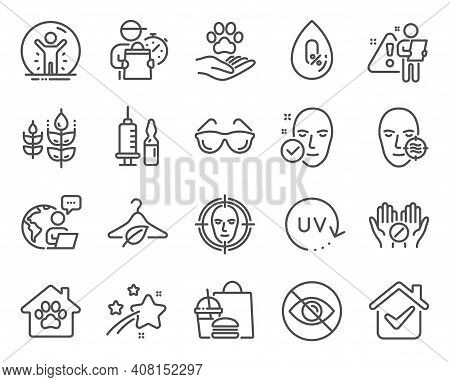 Healthcare Icons Set. Included Icon As Pets Care, Problem Skin, Medical Tablet Signs. Uv Protection,