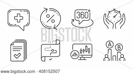 Timer, Target Path And Ab Testing Line Icons Set. 360 Degree, Loan Percent And Medical Chat Signs. H