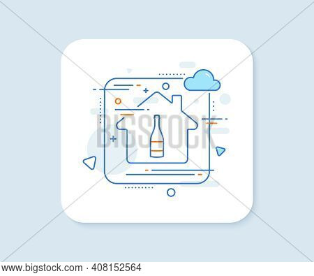 Champagne Bottle Line Icon. Abstract Vector Button. Anniversary Alcohol Sign. Celebration Event Drin