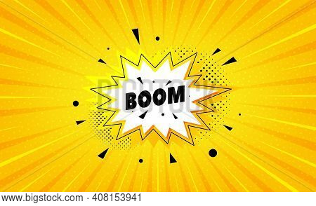 Boom Sale Sticker. Yellow Background With Offer Message. Discount Banner Shape. Coupon Bubble Icon.