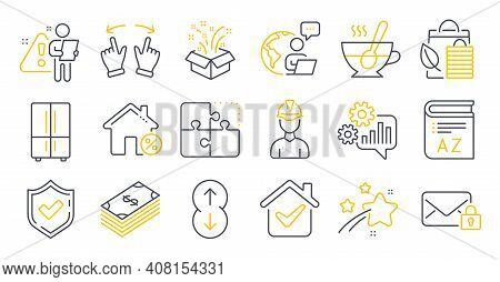 Set Of Business Icons, Such As Secure Mail, Cogwheel, Tea Cup Symbols. Bio Shopping, Gift, Confirmed