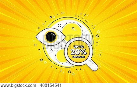 Up To 20 Percent Discount. Yellow Vector Button With Search Glass. Sale Offer Price Sign. Special Of