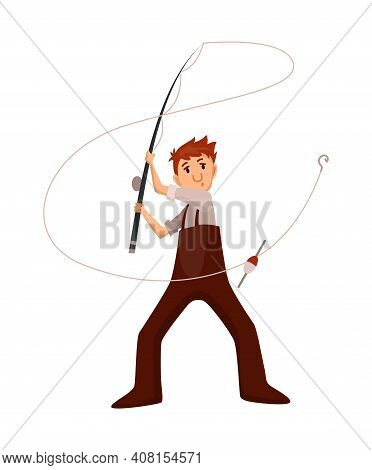 Fisherman Fishing With Fishing Rod. Fishing People With Fish And Equipment. Vacation Concept Flat Ve