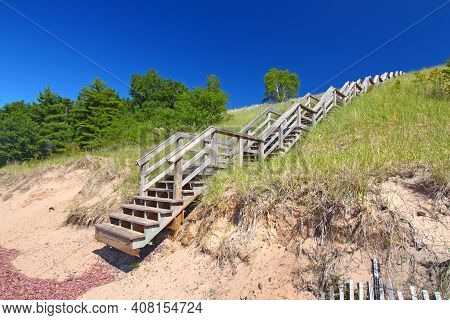 Staircase Leads To A Secluded Beach Along Lake Superior On The Keweenaw Peninsula Michigan