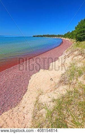Summer Beach Landscape Along Lake Superior On The Keweenaw Peninsula Of Michigan