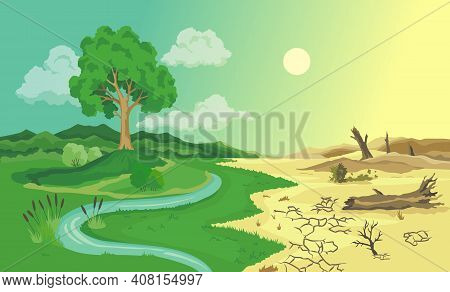 Climate Change Desertification Illustration. Global Environmental Problems. Land Degradation Infogra