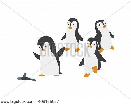 North Pole Arctic Fauna. Polar Penguin Vector Illustration In Flat Style. Little Penguins Fishing In