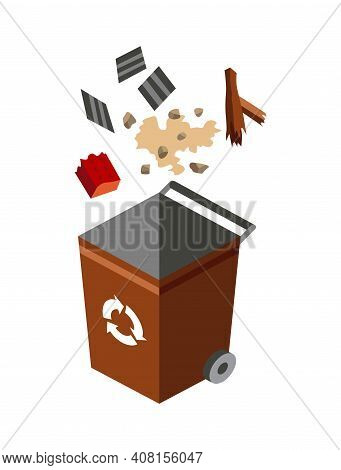 Garbage Can For Sorting. Recycling Elements. Colored Waste Bin With Mixed Trash. Separation Of Waste