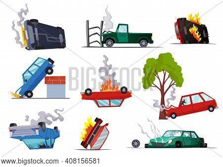 Accidents On Road Cars Damaged. Road Accident Icons Set With Car Crash Symbols Flat Isolated. Damage
