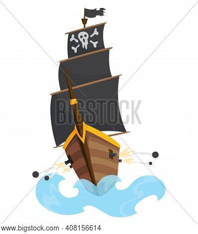 Stylized Cartoon Pirate Ship Illustration With Jolly Roger And Black Sails. Cute Vector Drawing. Pir