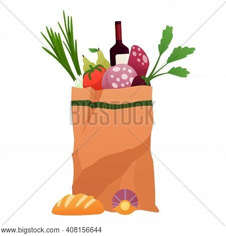 Paper Shopping Bag Products Grocery. Vegetables, Bread, Vine And Meat. Grocery Supermarket. Fresh He