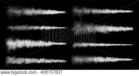 Realistic Airplane Condensation Trails. Space Rocket Launch. Missile Or Bullet Trail. Jet Aircraft T