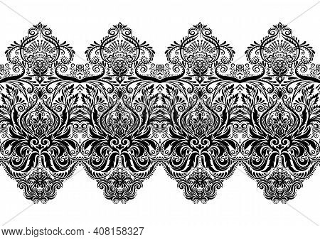 Tradition Floral Seamless Pattern, Damask Vintage Ornament. Royal Victorian Flourish Wallpapper, Lux