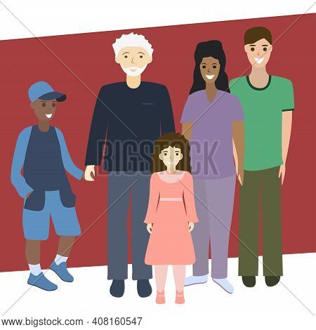 Multi-generation Family Portrait. Parents, Son, Daughter And Grandfather. Multi-ethnic Family Concep