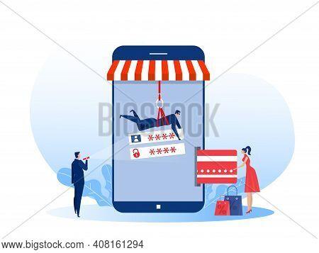 Hacker Stealing Money From Credit Card On Shop Mobile . Flat Vector Illustration. Crime, Banking, Se