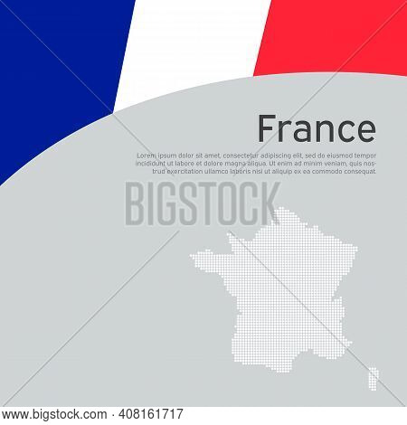 Abstract Waving France Flag And Mosaic Map. Creative Background For Patriotic, Festive France Card D